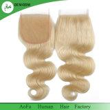 Farbe Remy Menschenhaar des Platin-blondes Spitze-Schliessen-Honig-613