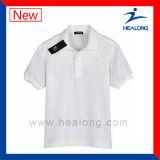Healong personalizou o t-shirt liso do algodão com alta qualidade