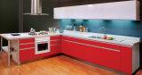 Form-roter Messing-UVlack-Küche-Schränke (ZX-016)