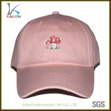 Los cabritos al por mayor de la gorra de béisbol del color de rosa de bebé bordaron el sombrero del papá