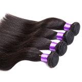 Cabelo brasileiro 100g reto do Virgin 3 cabelo humano reto não processado reto brasileiro do Virgin dos produtos de cabelo da benevolência do lote da parte 6A