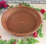 Cesta de fruta redonda do Rattan de Inmitation do estilo pastoral, cesta diversos do armazenamento