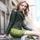 Куртка карманн пальто куртки PU куртки женщин способа