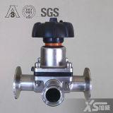 Soupape coupée de membrane sanitaire de l'acier inoxydable AISI316L, connexion soudée DIN 11850
