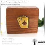 Hongdao kundenspezifischer hölzerner Playcard Kasten mit Metallplattenfirmenzeichen Wholesale_L