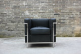 Modernes klassisches Büro-Leder-Sofa mit rostfreiem Rahmen (LC2)