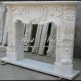 Cheminée blanche Mfp-112 de Carrare de granit en pierre de marbre extérieur
