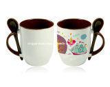 taza de cerámica colorida de la sublimación 11oz con la cuchara