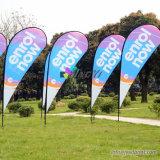 Publicité en polyester tricotée en plein air Drapeau de plage, drapeaux en plumes / plumes Impression