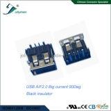 Corriente grande 5A &#160 de USB2.0 a/F 4p; Tipo de ángulo recto &#160 de la INMERSIÓN; El ningún encresparse con el aislador negro