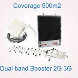 Telefone móvel duplo do impulsionador 900MHz 2100MHz do sinal do telefone de pilha da G/M 900 /2100MHz 3G do repetidor da faixa com ganho do ajuste
