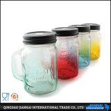 飲料のための淡いブルーの多彩なガラス瓶のメーソンジャー