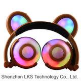 Auricular de Plugable del oído de la panda de la patente con la luz colorida del parpadeo LED para el regalo de la Navidad