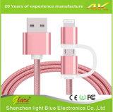 Qualität 2.4A 2 in 1 Mikro-USB-Kabel