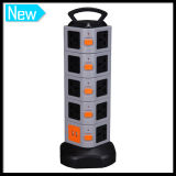 5 camadas Multi Vertical Power Switch Socket com 2 o USB Port