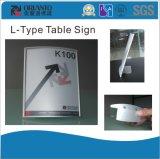 Aluminium anodisierter silberner Büro L-Typ Tisch-Zeichen