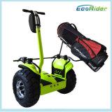 道のバランスのゴルフスクーターを離れて立つ2つの車輪