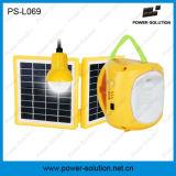 angeschaltene Solarlaterne des doppelten Panel-3.4W mit 1 Extra-Gleichstrom-Birnen-und USB-Telefon-Aufladeeinheit