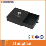 Cajón de encargo del negro de la insignia que resbala la caja de embalaje del papel de la joyería de la pestaña