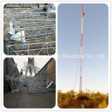 torre de comunicación tubular sólida galvanizada de Guyed de la barra de acero de la INMERSIÓN caliente 180feet