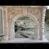 Cheminée en pierre de marbre Mfp-146 de calcium d'antiquité de cheminée de granit