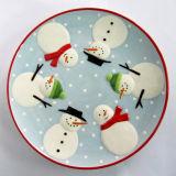 Plat en céramique peint à la main de bonhomme de neige de vaisselle de Noël (GW1289)