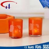 Suporte de vela de vidro de Tealight da forma colorida do cilindro (CHZ8029)