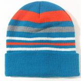 人のために適した帽子か帽子および冬の帽子の帽子の刺繍の縞の帽子で暖かい女性によって編まれる帽子