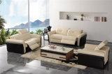 Sofá Moderno del Cuero de los Muebles de la Sala de Estar (714#)