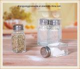 Bottiglia di vetro della spezia della decalcomania con il coperchio del metallo
