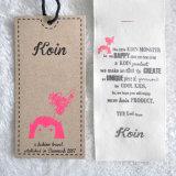 Stain anexado Fabric 2PC Kraft Paper Hangtag para Garment