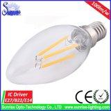 luz de bulbo do diodo emissor de luz do filamento de 400lm 4W/lâmpada Incandescent