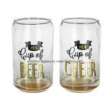 着色されたGlass Beer Can、4のSet、Glass Soda Can
