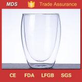 300ml耐熱性ガラス二重壁のワイン水卵の形のコップのマグ