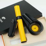 Course d'hydration jaune de tube de cigare de Cohiba de cendrier noir d'allumeur réglée (ES-EB-024)