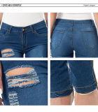 Frauen-beiläufige zerstörte zerrissene beunruhigte dünne Denim-Jeans