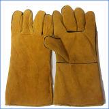 Instrucción 12 del calor '' 14 '' guantes de cuero que sueldan para la protección