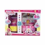 아이 장난감 인형 집은 교육 부엌과 냉장고 세트를 가장한다