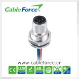 IP67 conector circular recto femenino del conector M12 12pin con el cable moldeado
