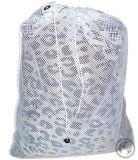 """졸라매는 끈, 색깔을%s 가진 작은 나일론 메시 세탁물 부대: 백색 - 크기: 22W """" X 28h """""""