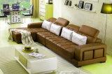 Sofà del cuoio genuino del salone con il tavolino da salotto di marmo (UL-NS264)