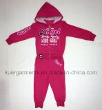子供の着ることのテリー織の布地の女の子のスポーツのスーツ