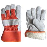 Kuh-aufgeteilte Palmen-Acrylstapel-Winter-Leder-Arbeit Glove-3089