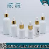 Weiße Boston-runde wesentliches Öl-Opalglasflasche mit Tropfenzähler