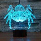 Ночи младенца света ночи переключателя 3D СИД касания спайдера USB СИД светильника таблицы иллюзиона освещаемый батареей для подарка