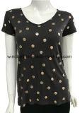 로즈 금 물방울 무늬를 가진 100% 비스코스 브라운 V 목 t-셔츠