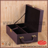 Rigid Handle Carrying High-End PU Leather Wine Box