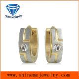 Pendiente de piedra de la joyería del acero inoxidable de la CZ del oro de la manera