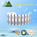 Type adhésif de collant et étiquettes de code barres thermiques matérielles de papier