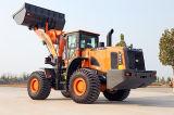 Bandera de la fuente de la fábrica modelo Yx667 del cargador de la rueda de 6 toneladas con la palanca de mando, el aire/acondicionado y el compartimiento 3.5 M3